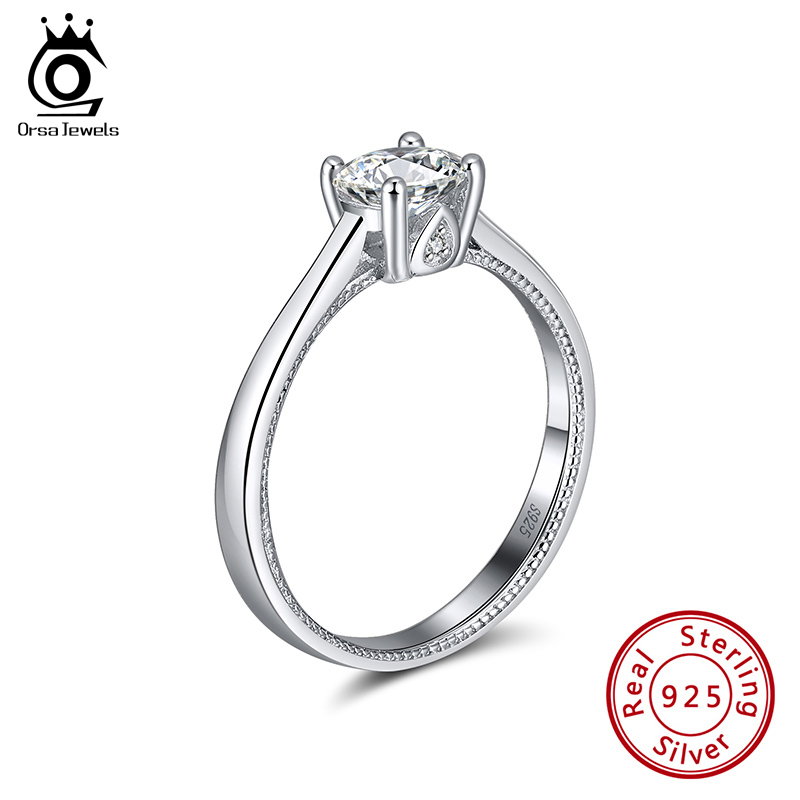 ORSA JEWELS 2020 Newest Pure 925 Silver Solitaire Rings Elegant Cubic Zircon Rings Wedding Bands Engagement Fine Jewelry SR212
