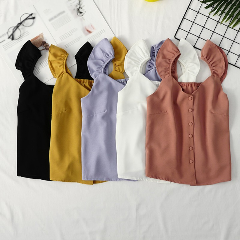 Korean Style Solid Color Ladies Camisole 2019 Summer Wild V-neck Single-breasted Chiffon Vest Tanks