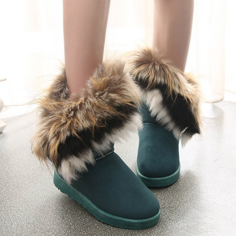 Women Fur Boots Ladies Winter Warm Ankle Boots For Women Snow Shoes Style Round-toe Slip On Female Flock Snow Boot Ladies Shoes 22