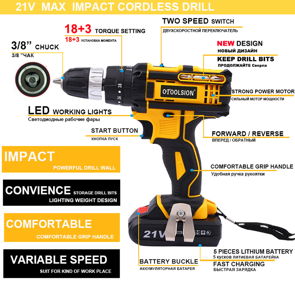 21V Cordless Hammer Drill 2×Battery Driver Set 1.5AH Lithium w//Light Fast Charge