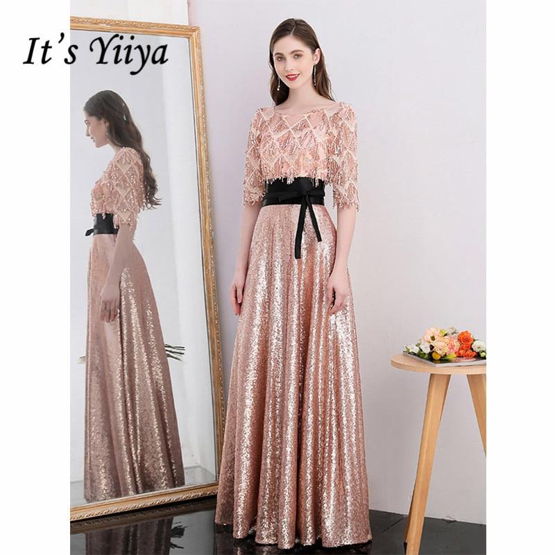 It's Yiiya Evening Dress 2019 Sequins O-Neck Half Sleeve A-Line Floor Length Dresses Elegant Sashes Party Formal Dresses E1047