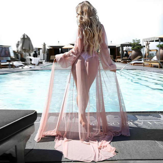 2020 Women Kaftan Beach Dress Mesh Long Bikini Sarong Cover Up Swimwear Beach Wear Bathing Bathing Suit Cover Ups Robe Plage 6