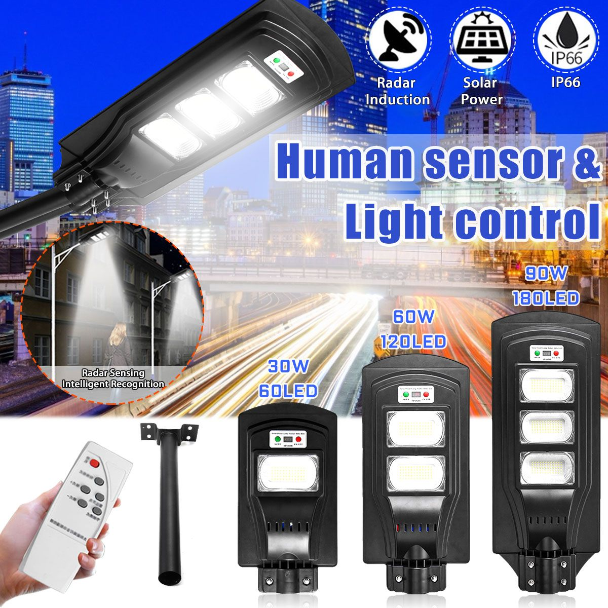 30/60/90W LED Wand Lampe IP66 led Solar Straße Licht Radar motion 2 In 1 Ständig helle induktion Solar Sensor Fernbedienung