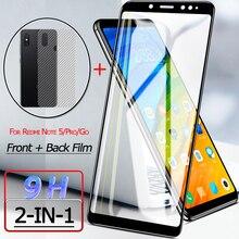 Front + Back Screen Protector for Xiaomi Redmi Note 5 Pro Tempered Glass Back Film Redmi Go Rear Film Sticker Redmi Note 5 Glass стоимость