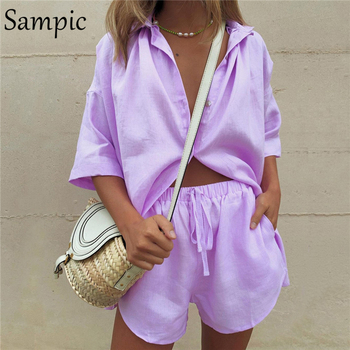 Sampic Summer Tracksuit Women Lounge Wear Shorts Set Short Sleeve Shirt Tops And Loose Mini Shorts Suit Two Piece Set 10