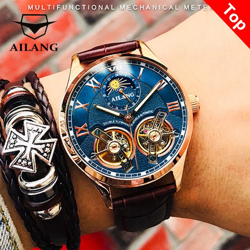 AILANG alta qualidade duplo turbilhão relógio masculino mecânico suíço automático relógio luminoso relógio à prova d'água 2019 mais recente design de moda esportes (exibição dia / mês) relógio de fase da lua