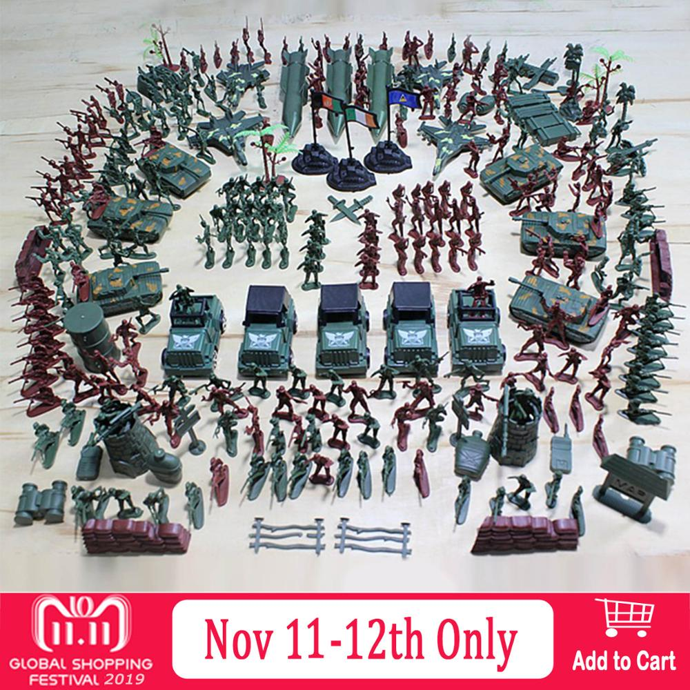 307pcs Plastic Army Men Action Figures Battle Group Military Soldier Playset With Army Base Model Accessories Toys