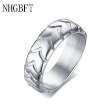 NHGBFT 6MM wide Stainless steel tire pattern ring for mens Punk Style wedding ring jewelry nhgbft punk style tire spinner chain rings for mens stainless steel black color biker ring male jewelry