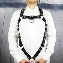 Skórzana uprząż pas człowiek Bdsm Bondage pastelowy Goth Fantazi Seks gg pas Gothic Punk Cinturon Mujer ślub podwiązki szelki