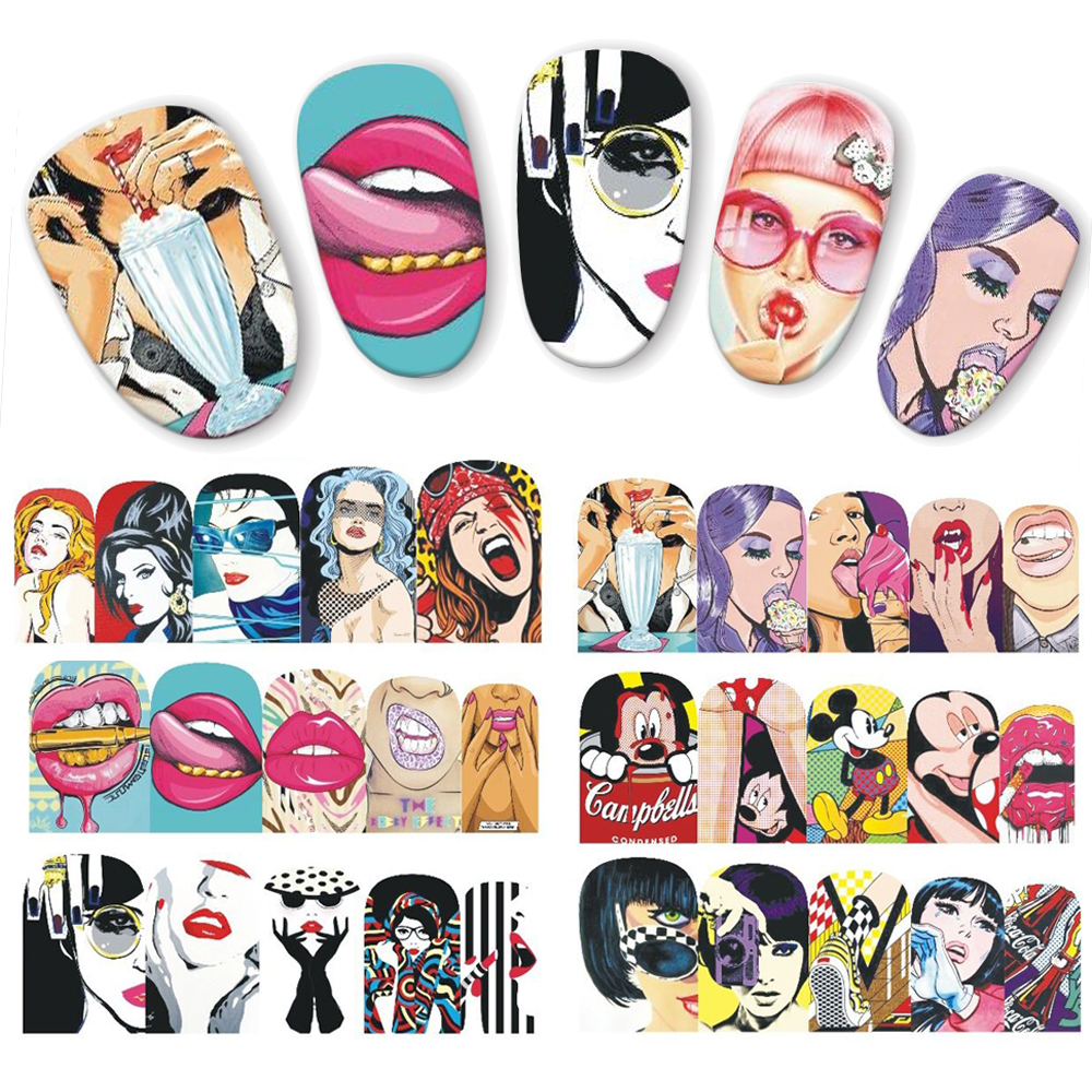 1 Sheet Pop Art Sticker Water Transfer Nail Art Stickers Sexy Woman Lips Nails Decorations Tips Nail Care Decals JIBN385-396