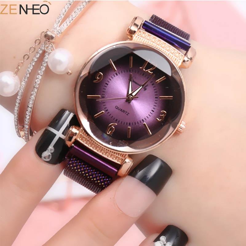 Women Gradient Dial Quartz Watches Ladies Bracelet Wristwatch Milanese Watches Women's Magnetic Buckle Wristband Girl Gift Clock