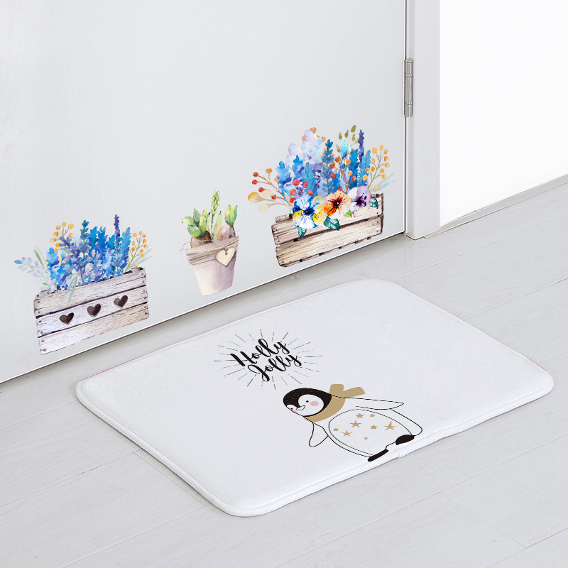 Simple Cartoon Animal Welcome Door <font><b>Mat</b></font> Penguin Owl Polar Bear <font><b>Deer</b></font> Living Room Decoration Blanket Rabbit Fox Bird <font><b>Bathroom</b></font> <font><b>Mat</b></font> image