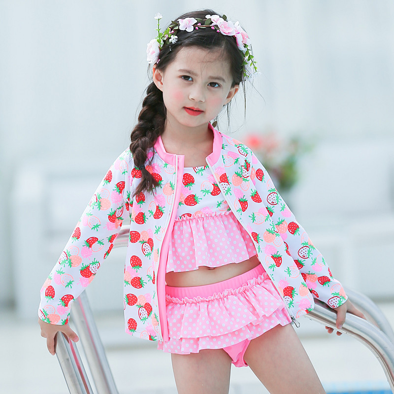 New Style Big Boy Pink Strawberry Cute GIRL'S Sun-resistant Split Type Hot Springs Swimwear Four-piece Set-KID'S Swimwear