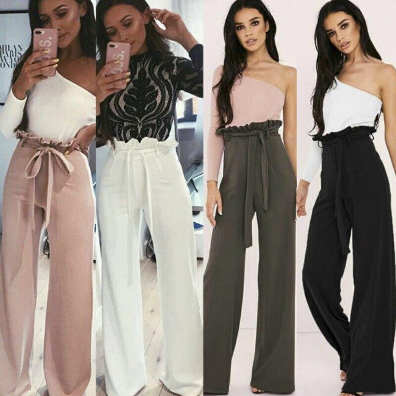 Goocheer 2019 New Women Ladies Trousers Palazzo Wide Leg High Waist Long Loose Casual Pants Ruffles Side Long Pants in Pants amp Capris from Women 39 s Clothing