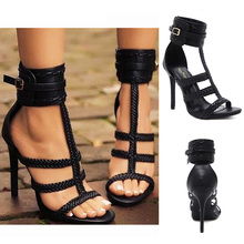 Shoes Woman Heels Gladiator High Heels Sandals Women Summer Shoes Women Sandals Party Fashion Pumps Sexy Sandal  Buckle Strap gold silver genuine leather thin high heels platform buckle strap sandals fashion party shoes women