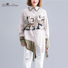 BelineRosa European Trending Fashion Ladies Printing Irregular Plus Size Blouses Women  TTFS0006