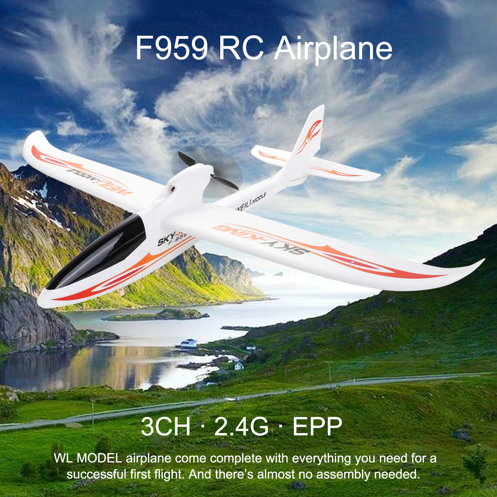WLtoys F959 RC Airplane 3CH 2.4G Fixed Wing Flying Model Toy gift for Children image