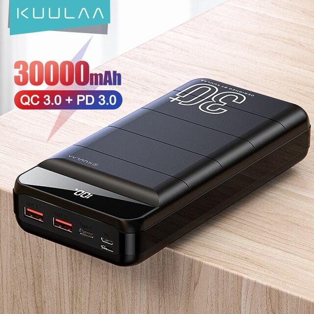 KUULAA Power Bank 30000 мАч QC PD 3,0 1