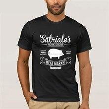 100% algodão o pescoço impresso camiseta sopranos t camisa satriale loja de porco