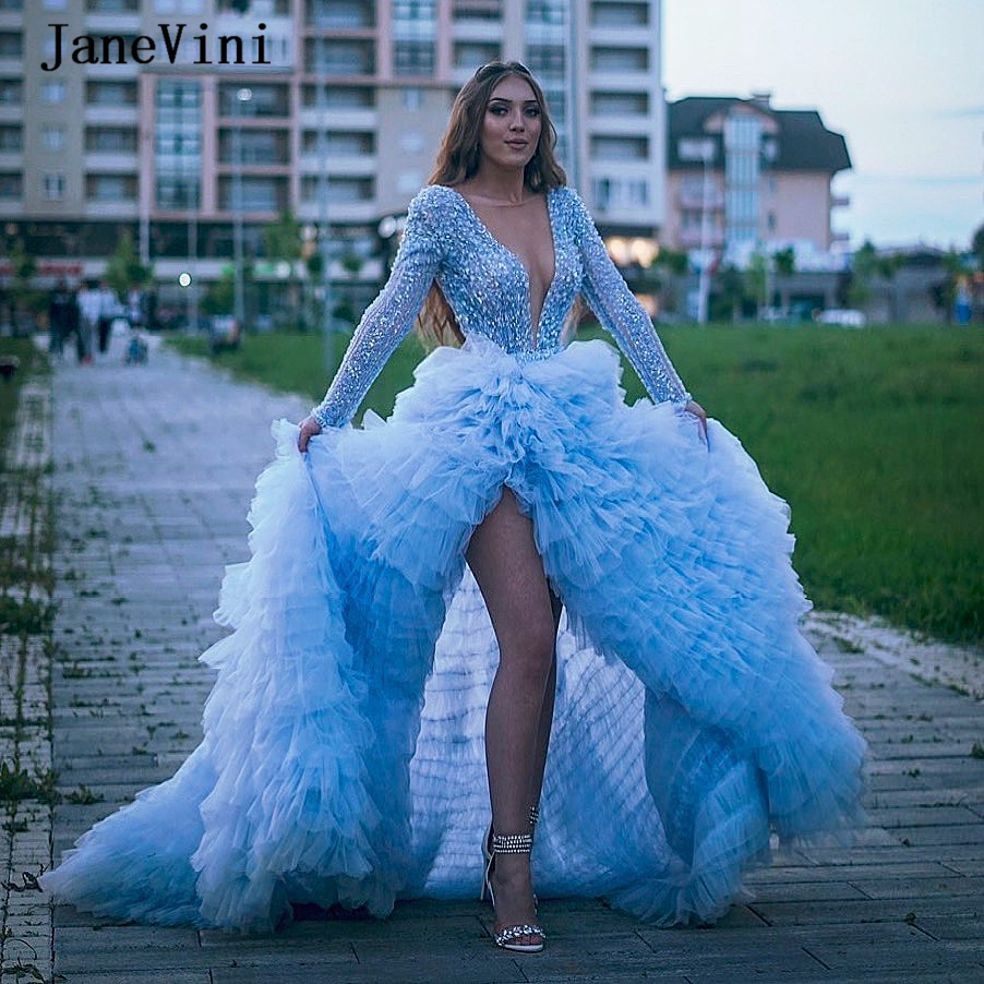 JaneVini Sparkly Sequins Tiered Ruffles Sky Blue Prom Dresses Long Sleeve Beaded Deep V Neck High Split A Line Tulle Party Dress