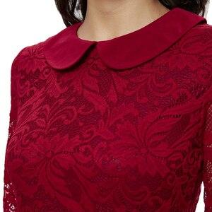 Image 5 - Ytl女性のレトロなヴィンテージ半袖ドレスエレガントなディナーパーティードレスブルゴーニュレース人形の襟プラスサイズドレス6XL 8XL h263
