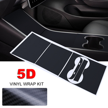 1Set 5D Carbon Fiber Vinyl Wrap Kit For Tesla Model 3 Center Console Dashboard Cup Holder Sticker Auto DIY Styling Film