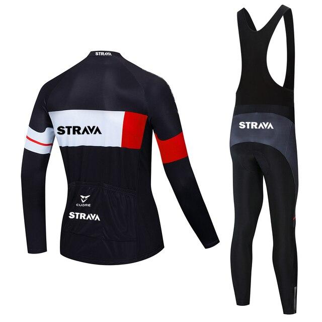 2020 strava pro equipe de manga longa conjunto camisa ciclismo bib calças ropa ciclismo bicicleta roupas mtb camisa uniforme dos homens 4