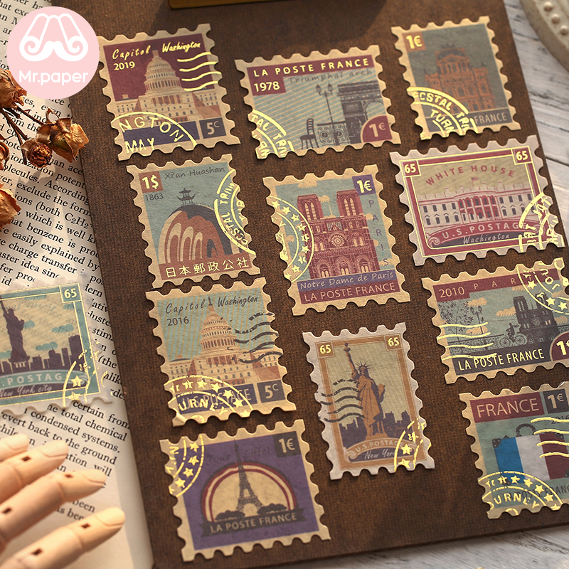 Mr.paper 4Pcs/pack Gold Stamping Vintage Retro Stamp Travel Plant Creative Stickers Bullet Journal Deco Stationery Stickers