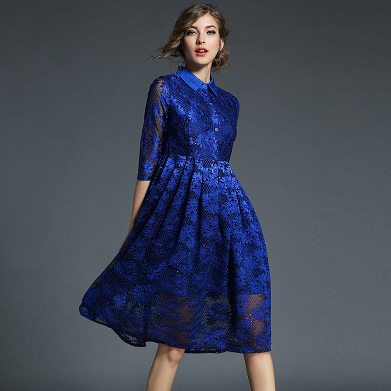 Europe And America High-End WOMEN'S Dress Mid-length Lace Dress Lou Kong 【xiu】 Crafts Sequin Fold-down Collar Half-sleeve Lace D