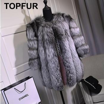 TOPFUR Solid Fluffy Silver Fox Fur Coats New Fashion Women Thick Warm Real Winter Jackets Full Pelt Plus Size