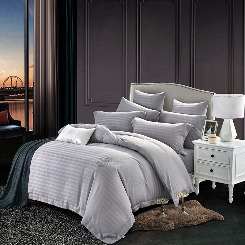 DOHIA Brand Direct Selling 60 Tencel Cotton Satin Stripe Embroidered Bedding Four Sets Simple Solid Color Kit
