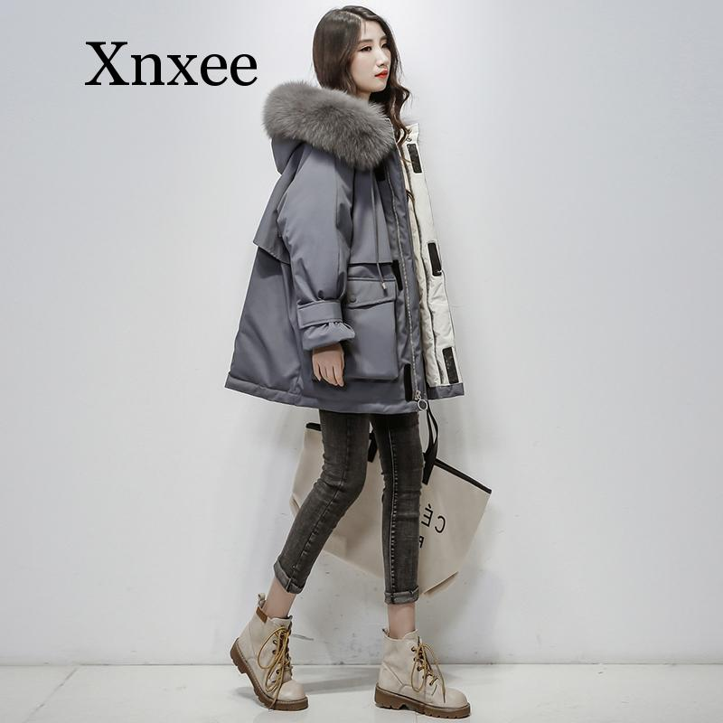 Large Natural Fox Fur Hooded Winter Jacket Women 90% White Duck Down Thick Parkas Warm Sash Tie Up Snow Coat  Zipper Women Coat