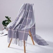 Moda xadrez feminina inverno cashmere pashmina senhora xale longo borlas envolve belo cachecol quente tamanho grande combinar roupas perfeitamente