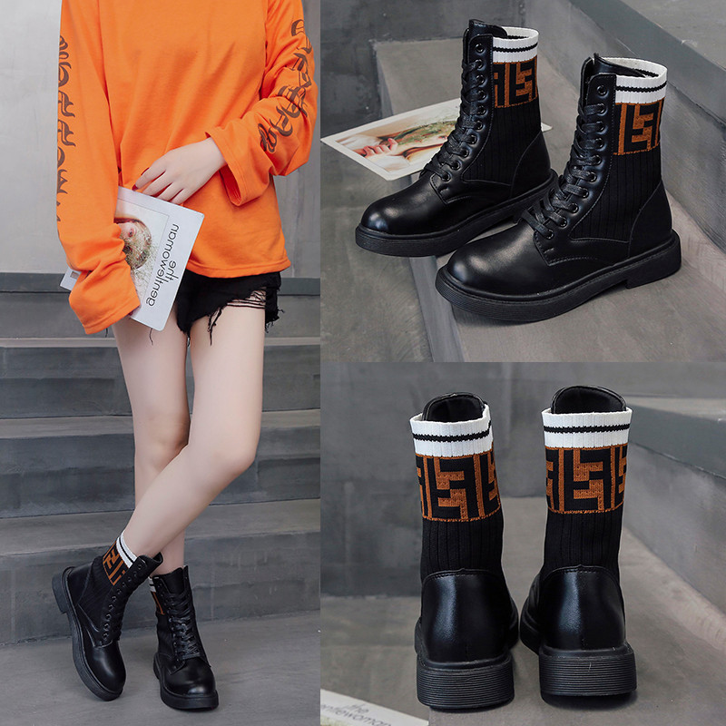 2019 Women's Autumn And Winter New Style Thick Bottomed Martin Boots British Style Hight-top Socks Boots Korean-style Versatile