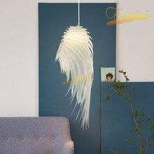 Modern LED Pendant Lamp Lighting PVC Feather Pendant Lights White Art Girl Princess Room Hotel Bedroom Lamps Decor Hanging Lamp