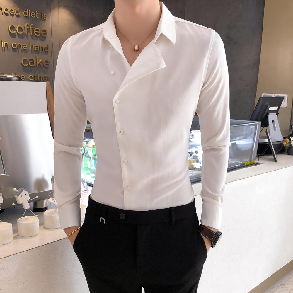British Style Business Men Dress Shirt Fashion Partial Threshold Shirt Men Long Sleeve Formal Wear Striped Shirt For Men Tuxedo