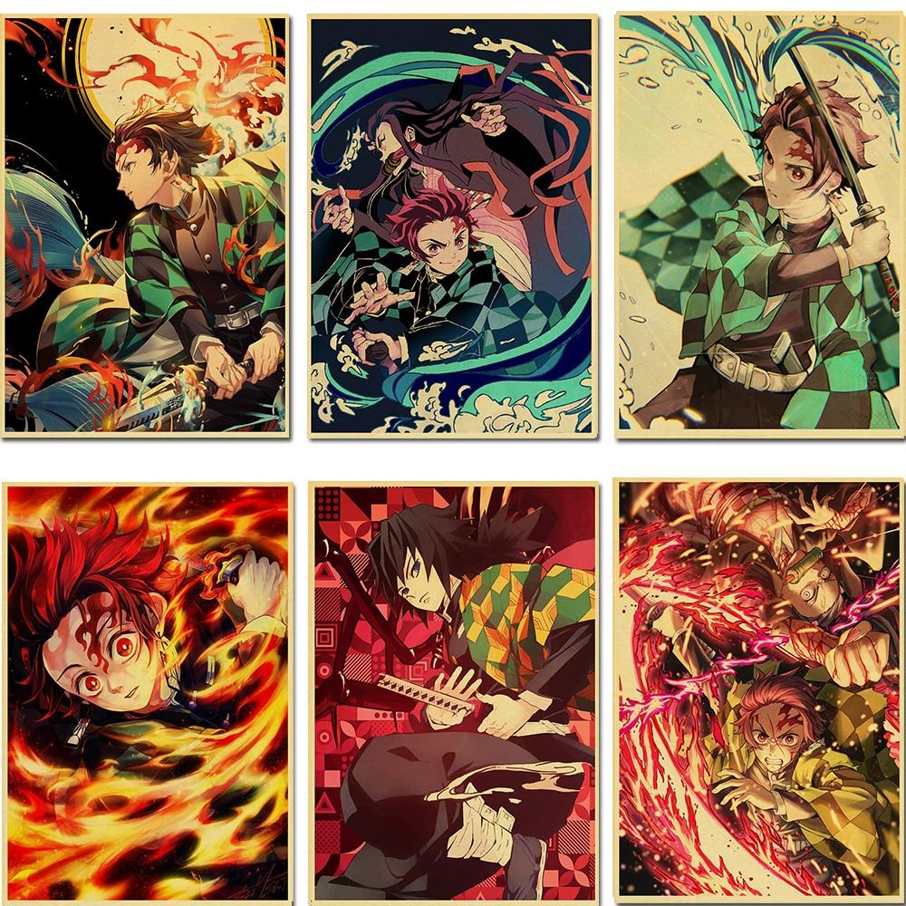 Украшение дома печатные настенные художественные работы крафт-бумага японский классический анимепокемон мультфильм плакат для детской ко...