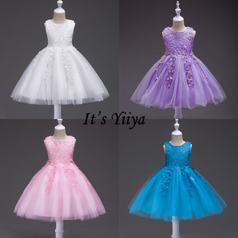 It's YiiYa   Flower     Girl     Dresses   5 Colors Sleeveless O-Neck Kids Party Evening   Dresses   Lace Elegant Communion Pageant   Dresses   802