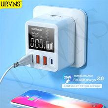 Urvns 40w carga rápida qc3.0 pd usb carregador de parede viagem adaptador do telefone móvel carregador rápido para iphone 11 xiaomi huawei samsung