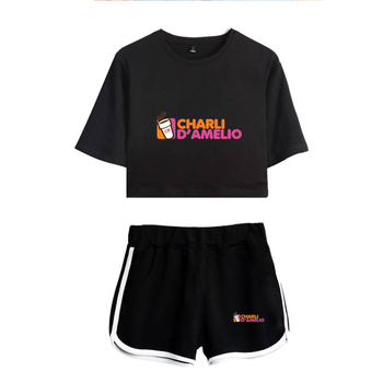 New Charli DAmelio Ice Coffee Splatter Women Two Piece Set Shorts+lovely T-shirt Sexy charli damelio merch Sport suit Girl 4