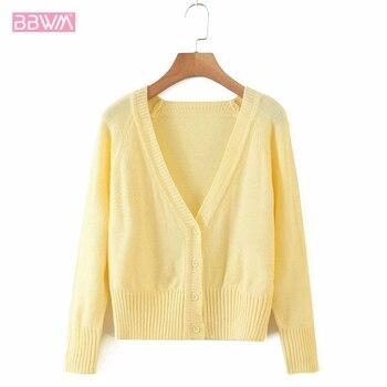 Harajuku, cárdigan con cuello en V, suéter amarillo de manga larga de punto de una sola hilera, suéter elegante para mujer que combina con todo, dulce suéter femenino para vacaciones