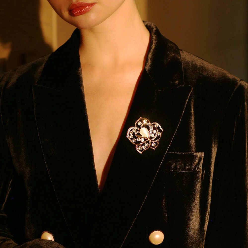 Viennois Spilla Fiore Spilli Nuovo Gioelleria raffinata e alla moda di Colore Dell'oro Faux Occhi di Gatto della Pietra per Le Donne