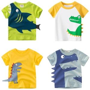 27kids Free shipping Baby Shark Pattern Boys T-shirt Kids Clothes Summer Girls Top Cotton Children t-shirt 2-7Years(China)