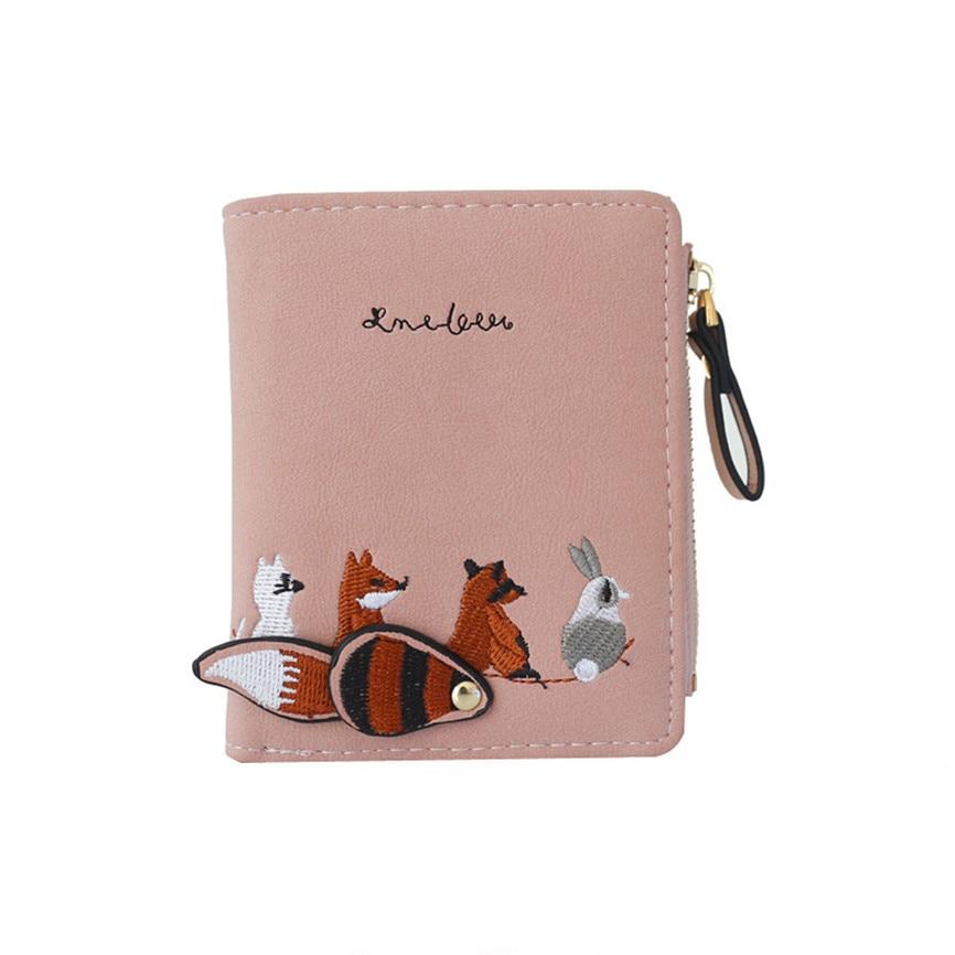 Womens Wallet Cartoon Lovely Cartoon Short Leather Animals Small Coin Purse With Zipper Boy Children Purse Card Holder Wallet A2
