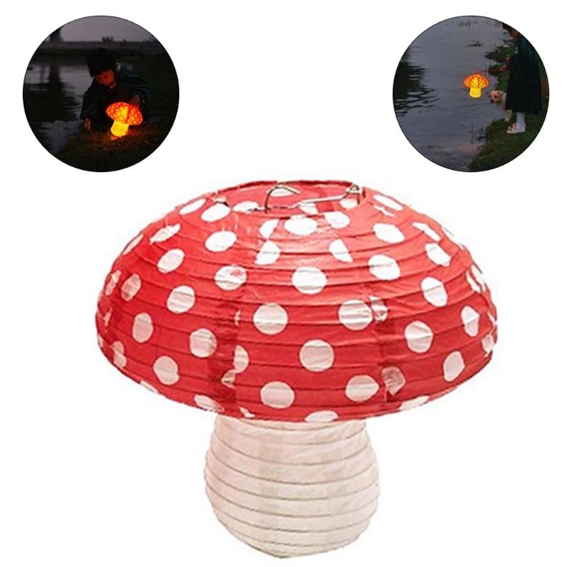 3Pcs Large Mushroom Shaped Paper Lanterns for  Birthday Party Decor Hanging 3D M