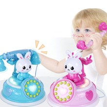 Teléfono de dibujos animados Vintage para niños con música ligera cuentacuentos de educación temprana Teléfono de simulación regalo educativo para bebés