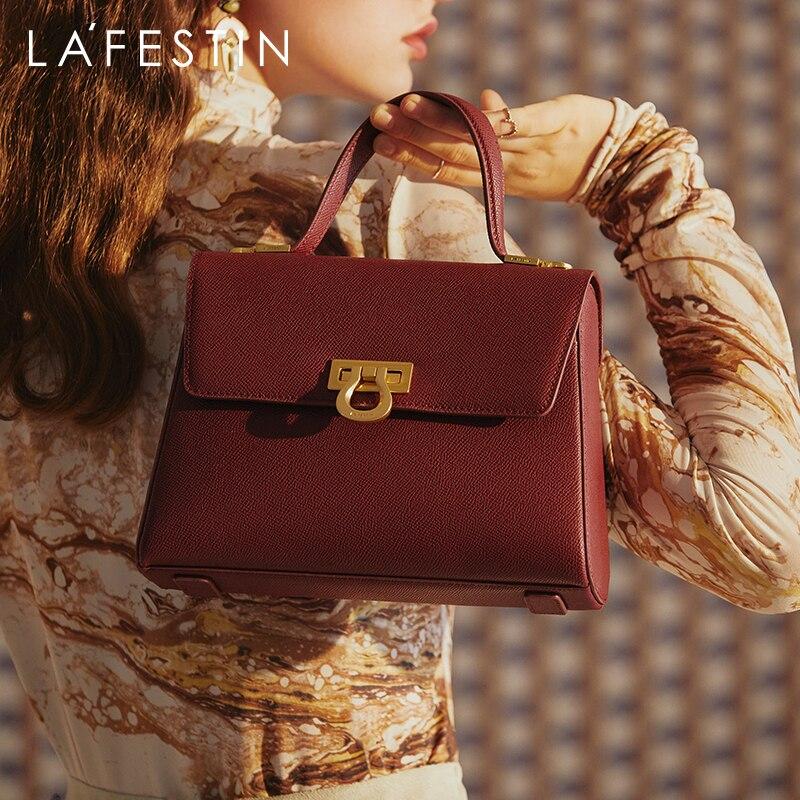 Женская кожаная сумка LAFESTIN, модная вместительная сумка-мессенджер на одно плечо в стиле ретро, 2020