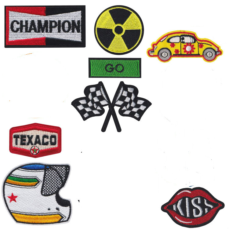 Punk Style <font><b>Car</b></font> <font><b>Race</b></font> flag Badge <font><b>Patch</b></font> Embroidered Iron <font><b>Patches</b></font> for Clothing DIY Kids Clothes Stickers Badges image