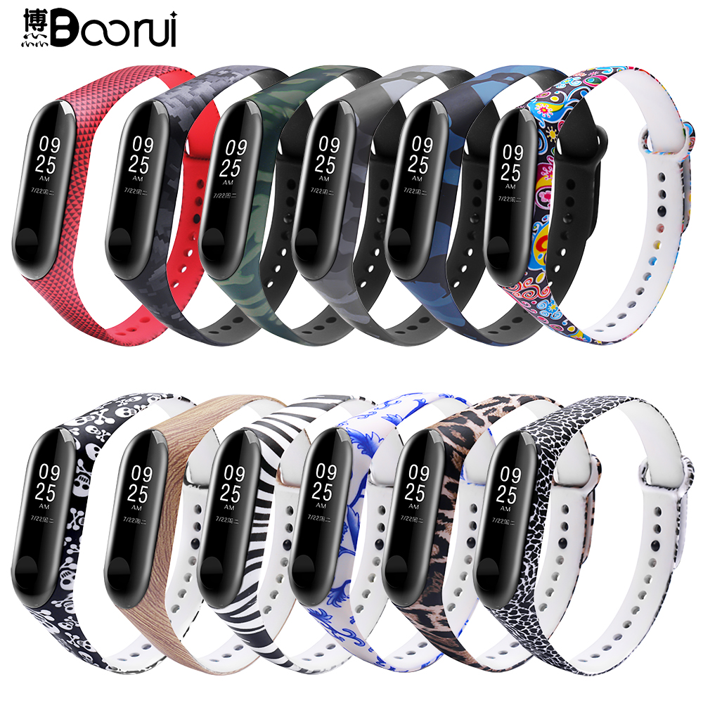 BOORUI Miband 3 Strap Mi Band 3 Accessories Silicone Varied Strap My Band 3 Replacement  For Xiaomi Mi 3 Smart Bracelets