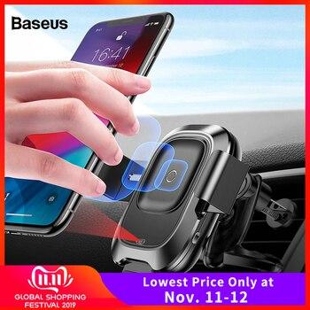 Baseus Qi автомобильное беспроводное зарядное устройство для iPhone 11 Pro XS Max samsung S10 интеллектуальная инфракрасная быстрая Беспроводная зарядка Ав...